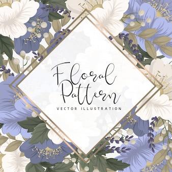 Frontera floral fondo flores