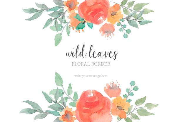 Frontera floral con hojas silvestres de acuarela