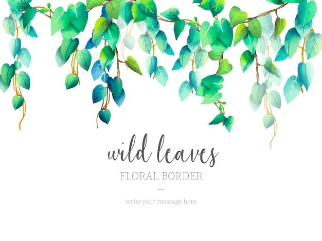 Frontera floral de hojas silvestres