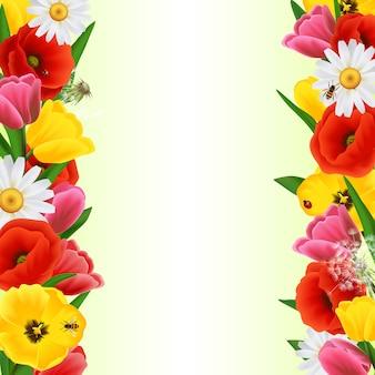 Frontera de flores de colores