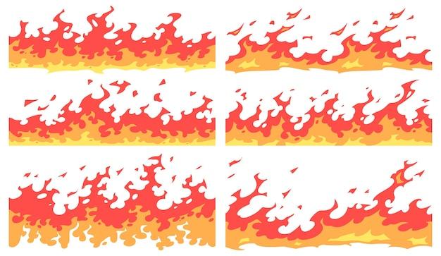 Frontera de fuego de dibujos animados. divisor de llamas, bordes de llamas de fuego brillante y resplandor sin fisuras