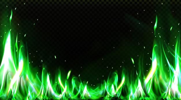 Frontera de fuego verde realista, imágenes prediseñadas de llama ardiente