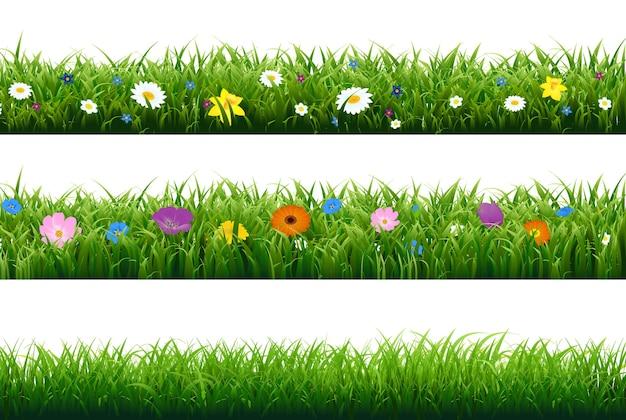 Frontera de hierba con flor con malla de degradado, ilustración