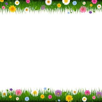 Frontera de hierba y flores con malla de degradado, ilustración