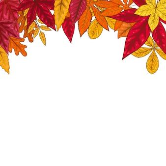 Frontera con hojas de otoño. elemento de emblema, cartel, tarjeta, banner, volante, folleto. ilustración