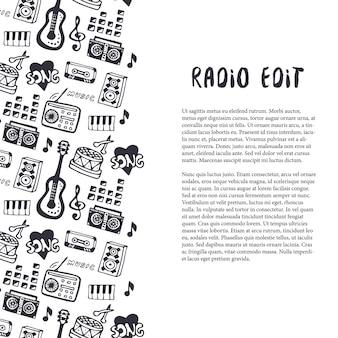 Frontera inconsútil de la música con los instrumentos musicales y la mano se ahogan cosas de sonido. plantilla para volante, pancarta, cartel, folleto, cubierta