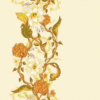 Frontera inconsútil vintage con magnolias florecientes, rosas y ramitas