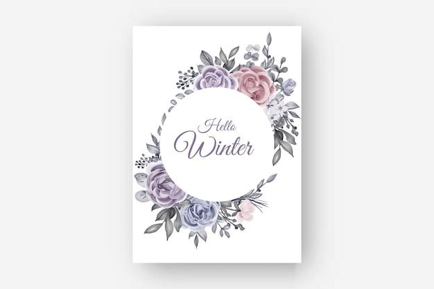 Frontera de invierno marco floral con flor rosa y hojas