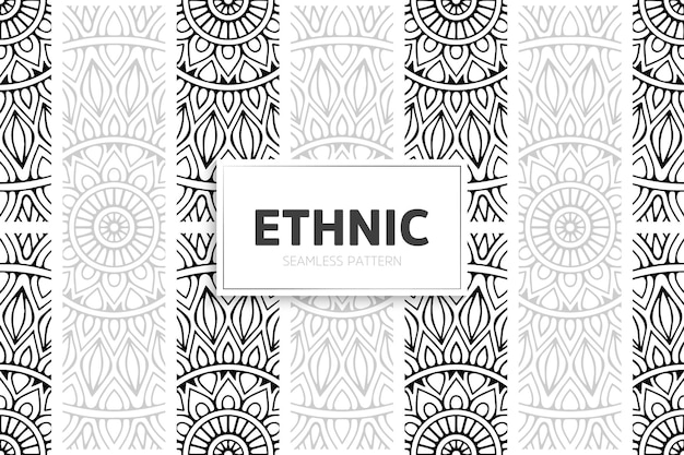 Frontera de mandala de diseño de patrón étnico.