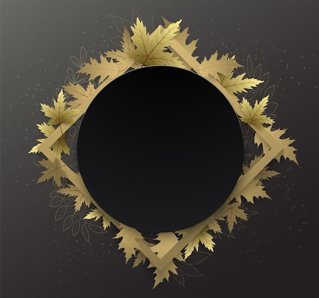 Frontera de marco de círculo negro otoño con mano escribiendo texto y hoja