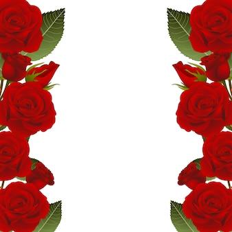 Frontera de marco de flor rosa roja