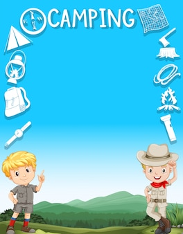 Frontera con niños en traje de camping