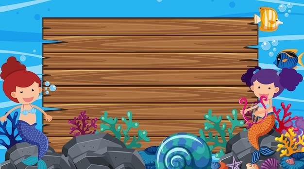 Frontera con el tema del océano en segundo plano