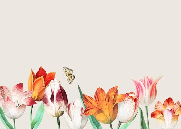 Frontera de tulipanes vintage decoración y espacio de copia