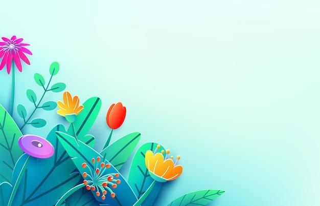 Frontera de verano con flores de fantasía de corte de papel, hojas, aislado