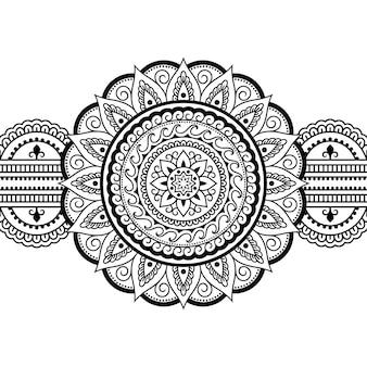 Fronteras sin costuras con mandala. patrón decorativo en estilo étnico oriental, indio. adorno de doodle. ilustración de sorteo de mano de contorno.