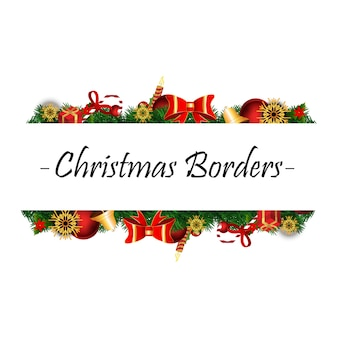 Fronteras de navidad con elementos de navidad realista sobre fondo blanco