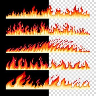 Fronteras horizontales de fuego sin fisuras en cuadros y negro
