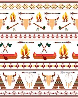 Fronteras indias nativas americanas tribales sin costuras vectoriales para diseño de ropa