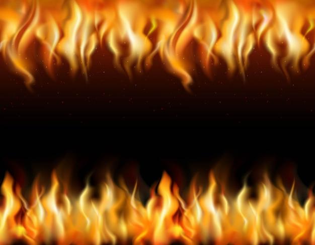 Fronteras realistas enlosables de fuego en fondo negro