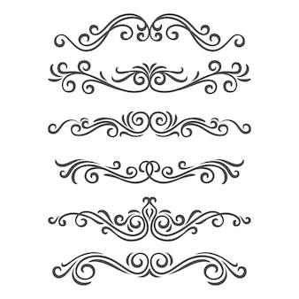 Fronteras y separadores de elementos decorativos ornamentales. conjunto de adornos caligráficos. decoraciones vintage