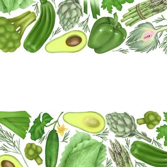 Fronteras de vegetales verdes