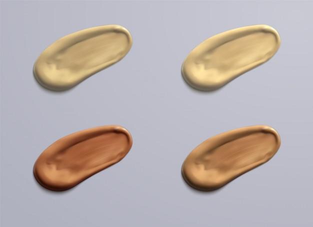 Frotis de crema cosmética realista. blanco cremoso gota cuidado de la piel crema producto loción espesa fresca suave frotis textura aislada