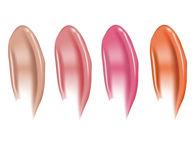 Frotis de lápiz labial con curvas uso de muestra de maquillaje suavemente manchado para publicidad banner de volante