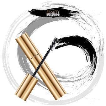 Frotis de pincel cosmético de mujer. cepillo de rímel para ilustración de maquillaje de mujer, vista superior