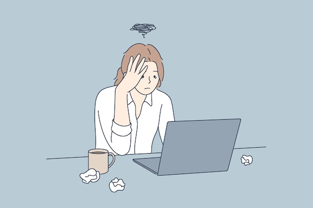Frustración, depresión, miedo, negocio, exceso de trabajo, plazo, concepto.