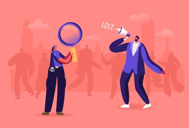 Frustración urbana en multitud. hombre con megáfono en lugar lleno de gente, mujer policía con lupa ayuda a buscar personajes perdidos