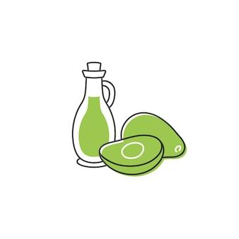 Fruta de aguacate en la mitad y una botella de aceite de aguacate ilustración de dibujo de doodle
