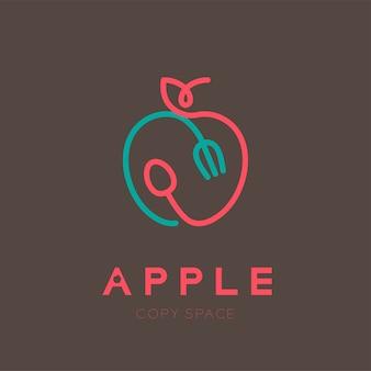 Fruta de apple con cuchara y tenedor con contorno de trazo de logo