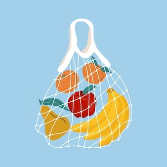 Fruta en una bolsa de malla. una variedad de frutas tropicales frescas en una bolsa eco reutilizable. ilustración. concepto de desperdicio cero. entrega a domicilio de comida sana. cero desperdicio, concepto libre de plástico.