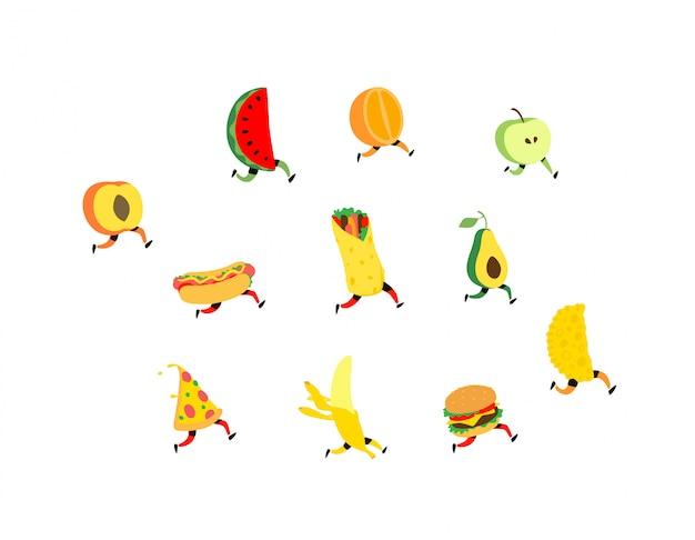 Fruta y comida rapida