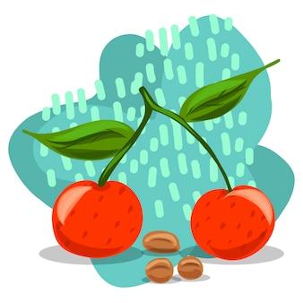 Fruta. dibujo a mano cerezas