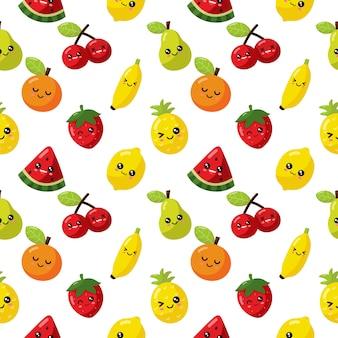 Fruta de dibujos animados kawaii de patrones sin fisuras aislada