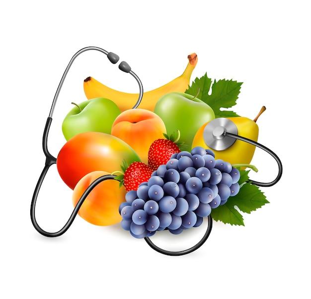 Fruta con un estetoscopio. concepto de alimentación saludable.