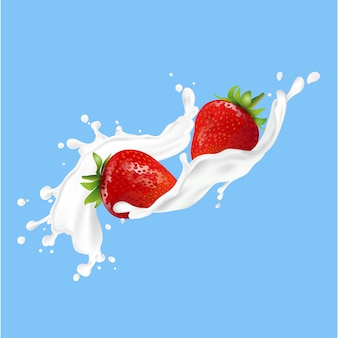 Fruta de fresa y salpicaduras de leche.