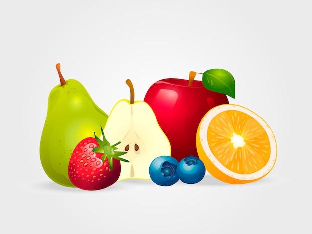 Fruta fresca y bayas jugosas aisladas en el fondo blanco.