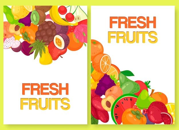 Fruta fresca para el mercado agrícola conjunto de banners.