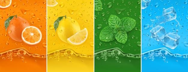 Fruta jugosa y fresca. naranja, limón, menta, agua helada. gotas de rocío y conjunto de ilustración de salpicaduras