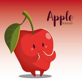 Fruta kawaii cara alegre caricatura linda manzana ilustración vectorial