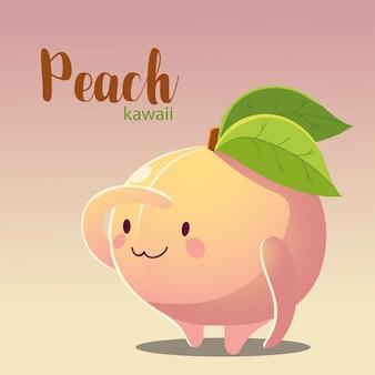 Fruta kawaii cara alegre caricatura lindo melocotón ilustración vectorial