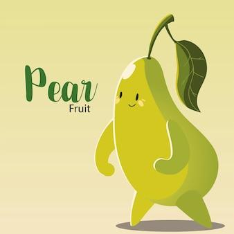 Fruta kawaii cara alegre dibujos animados lindo pera ilustración vectorial