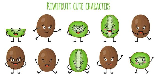 Fruta de kiwi lindos personajes alegres divertidos con diferentes poses y emociones