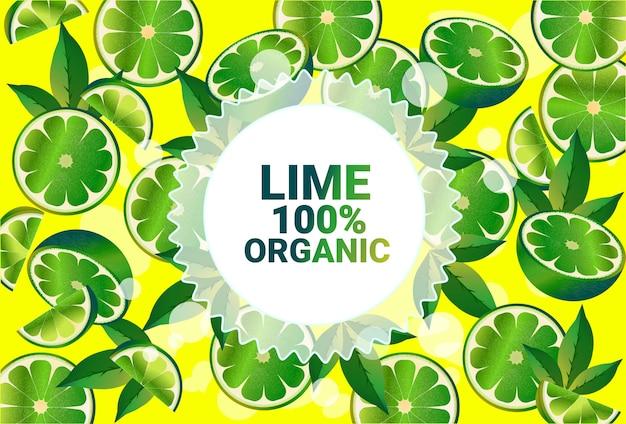Fruta lima colorido círculo copia espacio orgánico sobre fondo de patrón de frutas frescas estilo de vida saludable o concepto de dieta