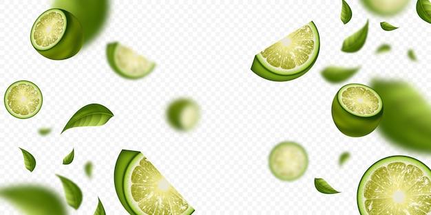Fruta de lima sobre un fondo transparente
