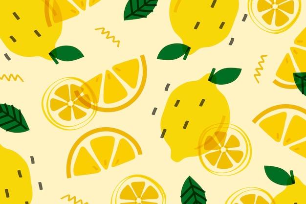 Fruta del limón al estilo memphis.