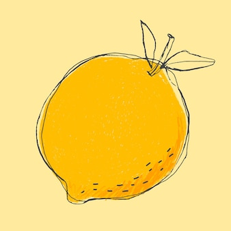 Fruta de limón lindo doodle arte